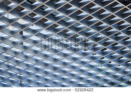 Modern Architecture Abstract Background With Metal Cellular Ceiling