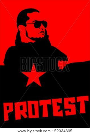 Vector drawing of anarchist man with large flags