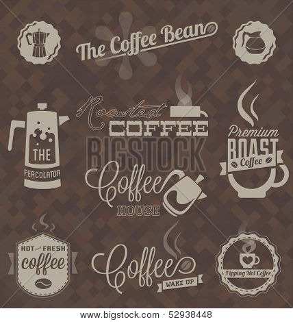 Vector Set: Retro Coffee Shop Labels and Symbols