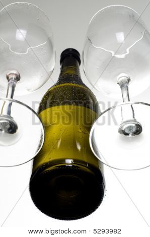 Empty Wine Glass And Bottle