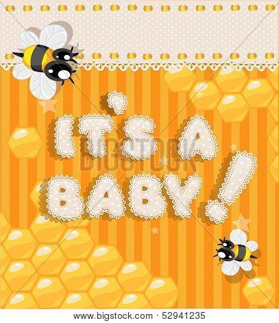Yellow honey announcement card