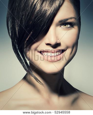 Fashion Haircut. Hairstyle. Stylish Fringe. Teenage Girl with Short Hair Style. Beauty Teenager Girl Portrait. poster