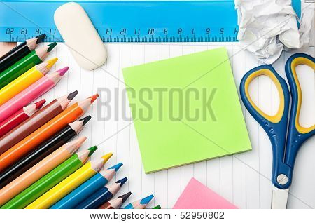 Set Of Stationery School And Office Tools