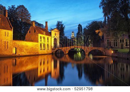 Beguinage Bridge By Night, Bruges, Belgium.