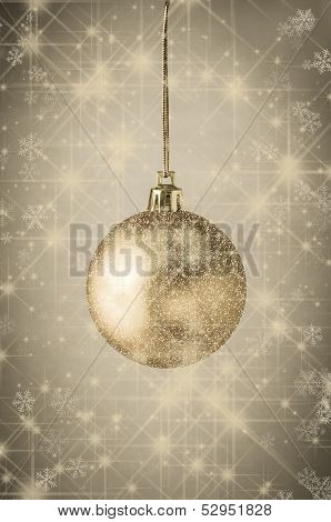 Sparkling Gold Christmas Bauble With Stars