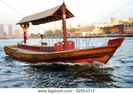 Dubai, Uae - September 10: The Traditional Abra Boat In Dubai Creek On September 10, 2013 In Dubai,