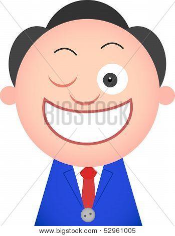 Funny Businessman Winking