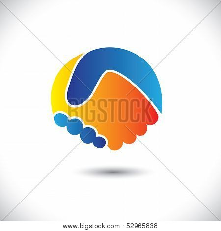 Concept Vector Graphic Icon - Business People Or Friends Hand Shake
