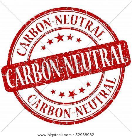 Carbon Neutral Grunge Red Round Stamp