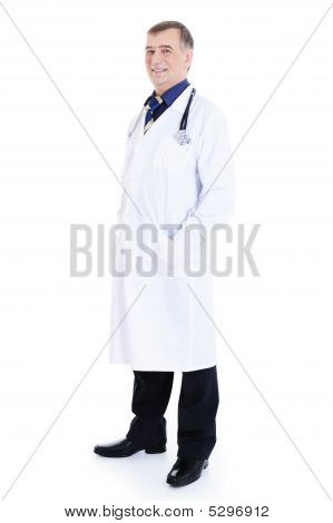 Successful Smiling Mature Male Doctor With Stethoscope