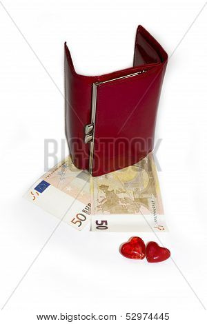 Euro money on white background - red wallet