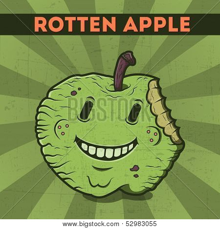 Funny, Cartoon, Malicious, Green Monster Apple, On The Scratchy Retro Background. Vector Illustratio
