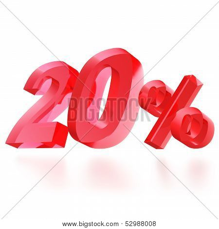 Sales concept: 20% off sign on white