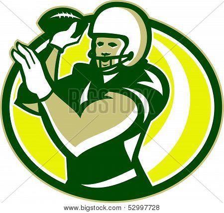 American Football Qb Passing Ball Retro