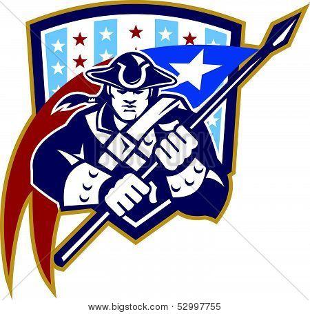 American Patriot Holding Brandish Flag Crest