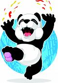 A vector image of a cute cartoon of panda jumping excitedly. Drawn in cartoon style, this vector is very good for design that needs animal element in cute, funny, colorful and cheerful style. poster