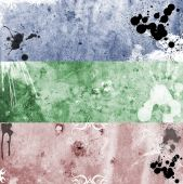 Trree colorfull grunge rusty and very dirty banners poster