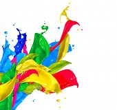 Colorful Paint Splash Isolated on White Background. Abstract Colored Splashing. Multicolor Paint Splatter poster