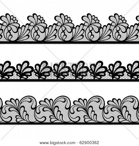 Set of black lace vector borders