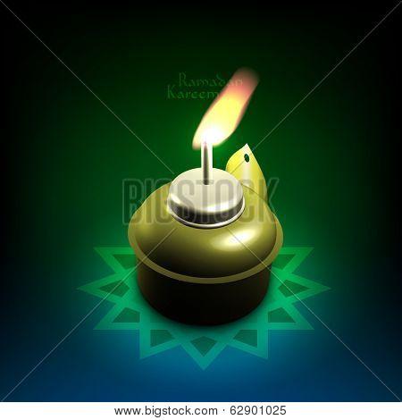 Vector 3D Muslim Oil Lamp - Pelita. Translation: Ramadan Kareem - May Generosity Bless You During The Holy Month.