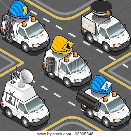 Isometric Workers Trucks