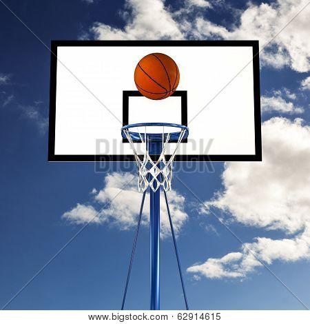 Ball Bouncing On A Basketball Backboard