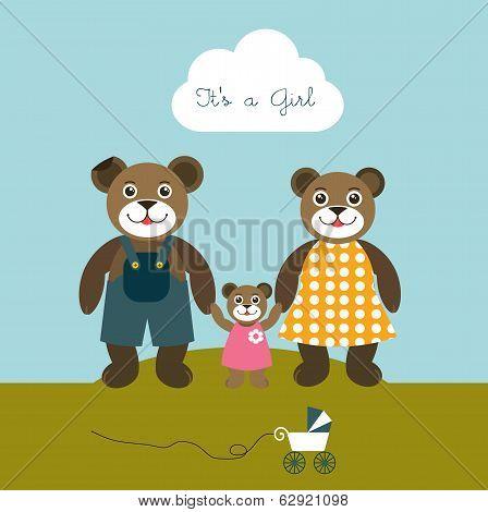 Babygirl born card. New born welcome concept. Children vector background. Teddy bear concept.