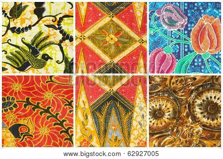 Set of batik sarong pattern background traditional batik sarong in Asian