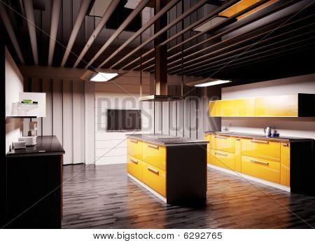 Modern Kitchen 3D Render