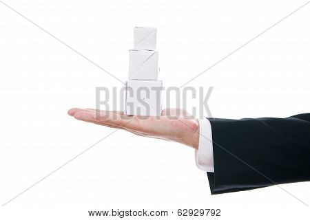 Business Man With Cube In Hand