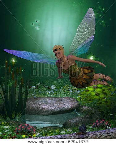 A winged fairy flies over a magical forest pond on iridescent wings. poster