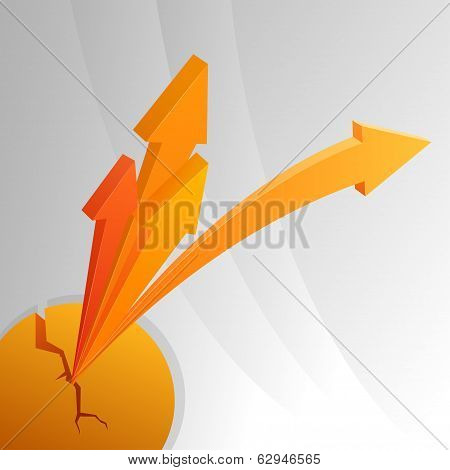 Orange Arrows From Cracked Sphere.