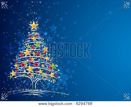 árbol de Navidad en el fondo azul, vector illustration