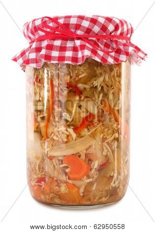 Jar of preserved mixed vegetables chops
