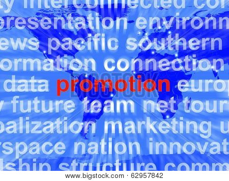 Promotion Word Cloud  Shows Discount Bargain Or Markdown
