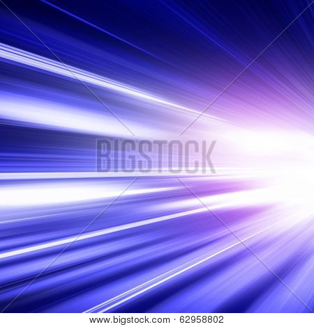 Abstract image of speed motion on the road at twilight. poster