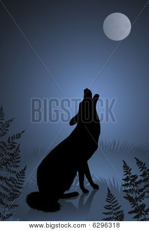Wild wolf / coyote howling at the full moon.Original vector illustration poster