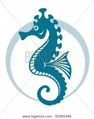 Blue seahorse symbol with circle shape. Vector illustration poster