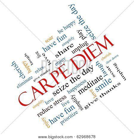Carpe Diem Word Cloud Concept Angled