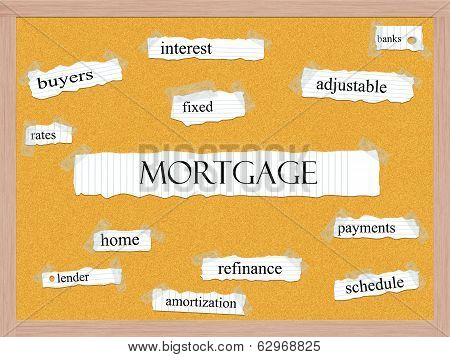 Mortgage Corkboard Word Concept