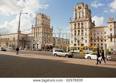 Two towers on Railway station square known as City Gates in Minsk