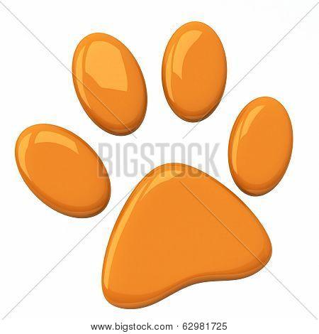 Orange pet paw, 3d