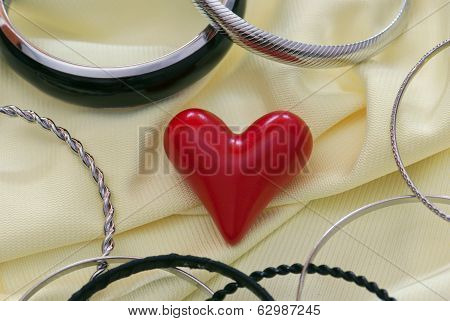 Red Heart With Various Bracelets