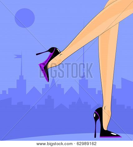 female Feet In The City