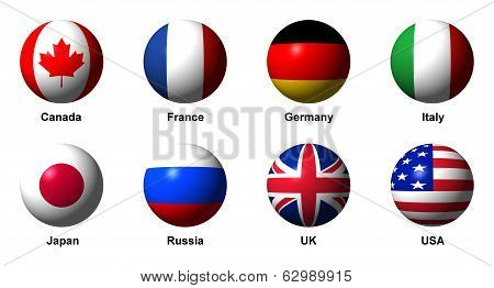 Collage of Flags of the G8 countries with labels