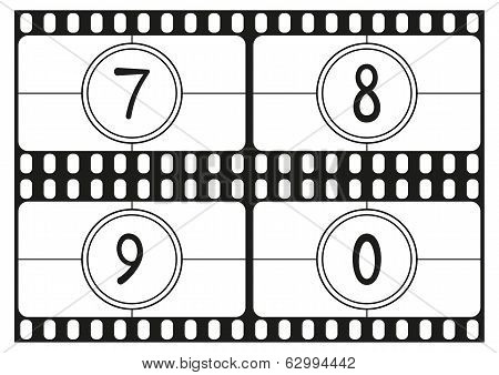 Film countdown numbers hand drawing digits part 3