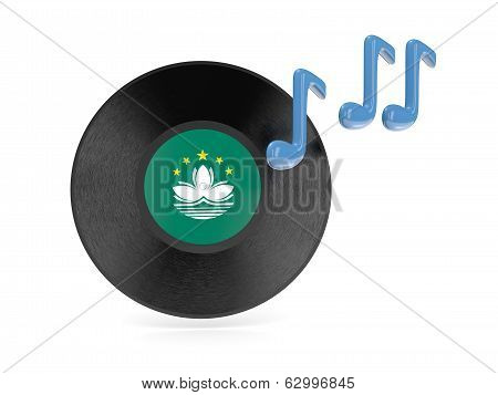Vinyl disk with flag of macao isolated on white poster