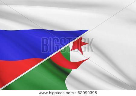 Series Of Ruffled Flags. Russia And Algeria.