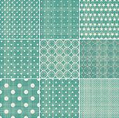 set of retro turquoise and faded grey seamless patterns poster