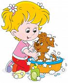 Little girl washes her small pup in a basin with lather poster